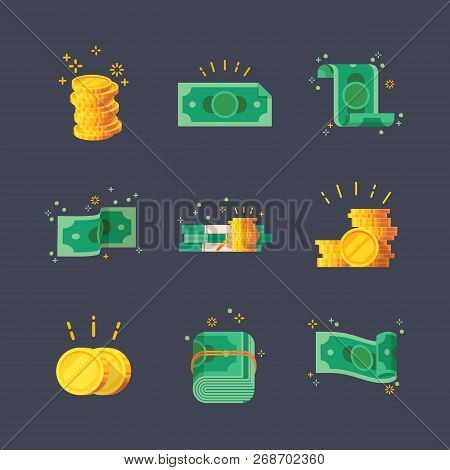 Set Of Isolated Dollar Banknotes And Glowing Golden Coins, Money. Simple Paper And Metal Cash Icons