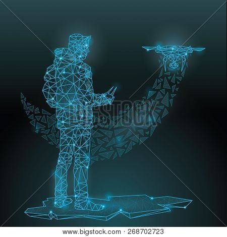 Abstract Polygonal wireframe Low poly mesh launch off drone copter ,consisting of points lines, shapes,dots, stars.On blue night sky dark background poster