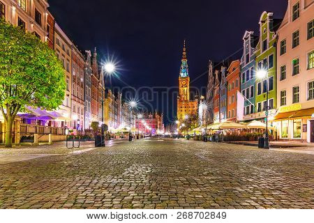 Scenic Night View Of Ancient Architecture At The Dlugi Targ Market Square In The Old Town Of Gdansk,