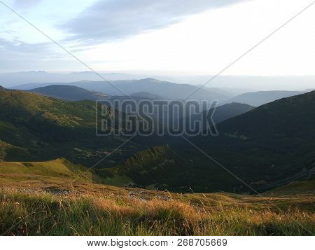 Mountain Landscape. Mountain Layers In Sunset. Sunset In The Mountain Forest Landscape. Forest And M