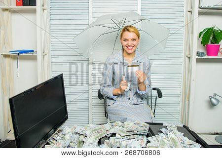 Woman Business Lady Or Accountant Under Umbrella. Richness And Profit. Financial Success. Accountant