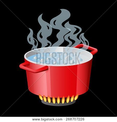 Red Pan, Saucepan, Pot, Casserole, Cooker, Stewpan With Boiling Water And Opened Pan Lid Vector Isol
