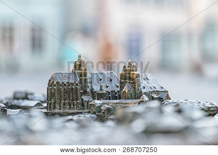 Small Model Of Famous Cathedral And Severi Church In Erfurt, Germany. Braille Language