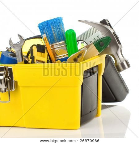set of tools in black toolbox isolated on white background