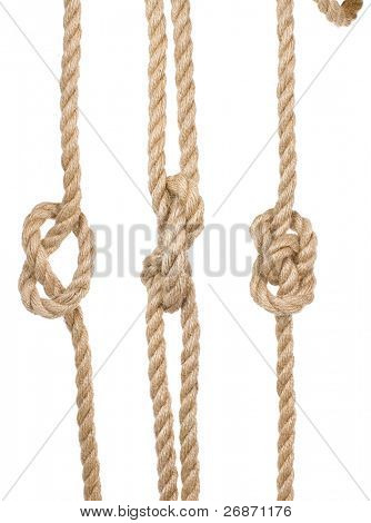 close up ship ropes with a knot isolated on white background