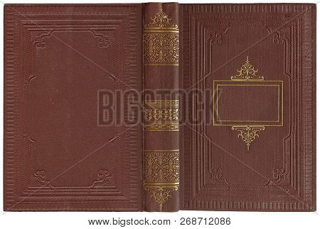 Old Open Book Cover - Circa 1900 - Isolated On White - Perfect In Detail