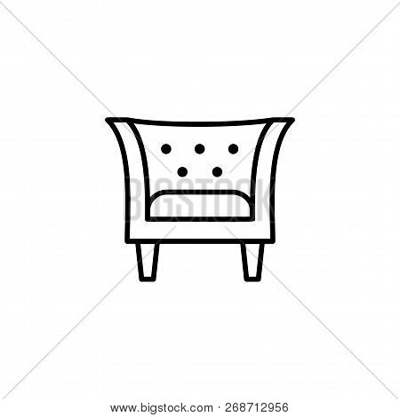 Black & White Vector Illustration Of Vintage Leather Armchair With High Back. Line Icon Of Arm Chair