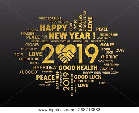 Happy New Year 2019 Greeting Card For Sharing