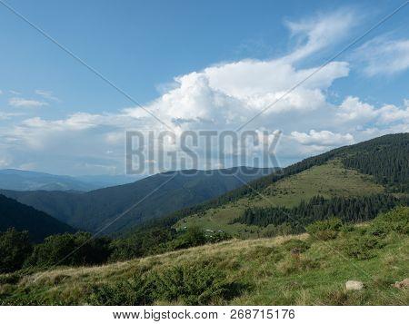Landscape Of Hillsides In August. Carpathians Mountains At Summer, West Ukraine. Ukrainian Nature Ba