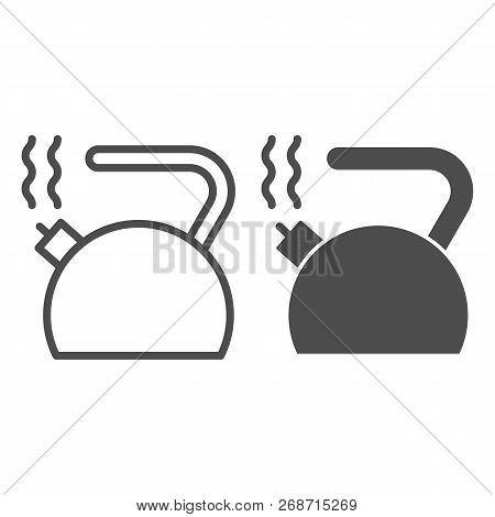 Kettle Line And Glyph Icon. Teakettle Vector Illustration Isolated On White. Teapot Outline Style De