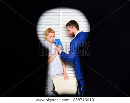 Boss Aggressive Threatening Violence. Witness Of Office Crime. Woman Suffer Violence In Office. Dirt