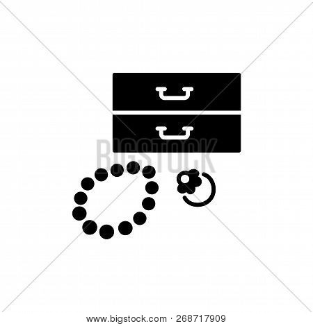 Black & White Vector Illustration Of Jewelry Holder With Ring, Bracelet. Decorative Jewellery Organi