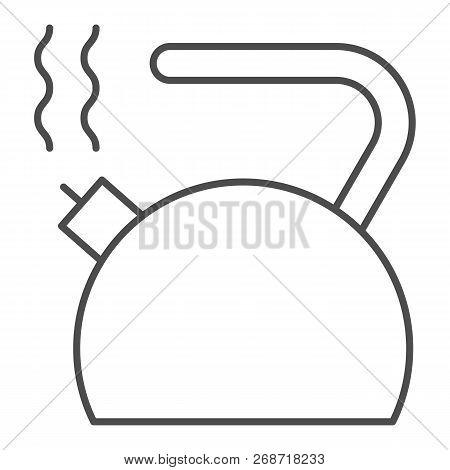 Kettle Thin Line Icon. Teakettle Vector Illustration Isolated On White. Teapot Outline Style Design,
