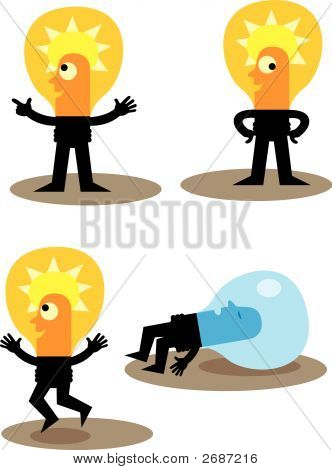 Light Bulb Cartoon Vector Characters
