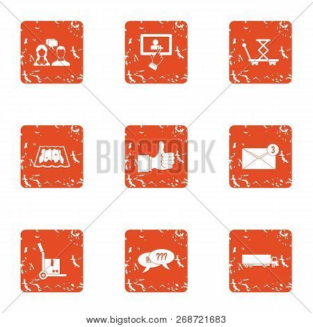 Commercial Negotiation Icons Set. Grunge Set Of 9 Commercial Negotiation Icons For Web Isolated On W