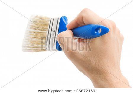 hand and paintbrush isolated on white background