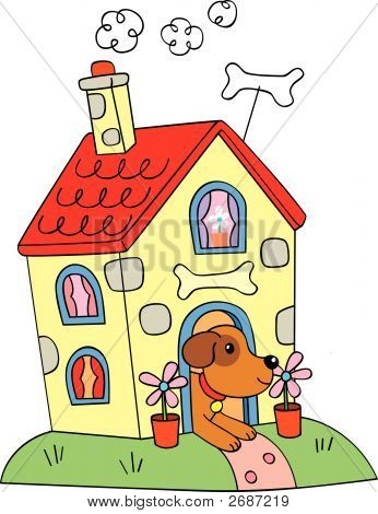 vector cartoon dog in house type kennel poster
