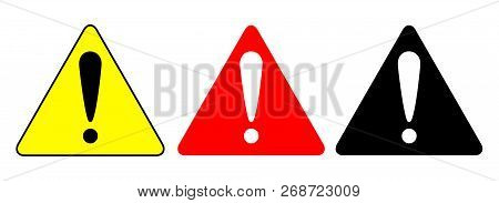 Set Of Triangle Caution Icons. Caution Sign. Vector Illustration.