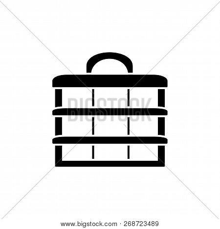 Black & White Vector Illustration Of Sewing Organizer. Flat Icon Of Box To Organize Craft Items. Iso
