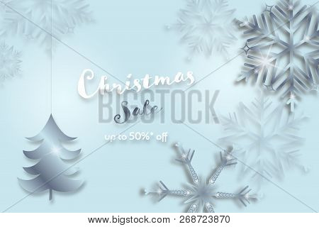 Christmas Time. Background With Snowflakes And Christmas Tree. Text : Christmas Sale