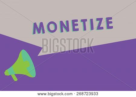Text sign showing Monetize. Conceptual photo convert into or express in form of currency earn revenue from asset poster
