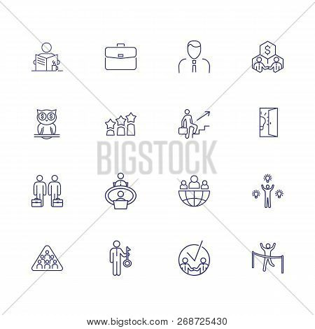Business Line Icon Set. Portfolio, Partnership, Idea. Business Process Concept. Can Be Used For Topi