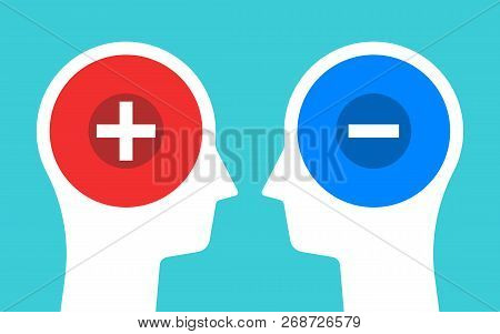 Two Heads Silhouettes With Plus And Minus Signs. Positive And Negative Thinking, Contrasts, Polarity