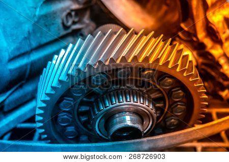 Car Automatic Transmission Gears. Automotive Repair Workshop Garage Mechanic. Dual Tone Lighting Blu