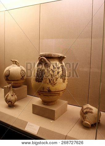 Fira, Greece - September 12, 2016: Museum Of Prehistoric Thera In Fira, Santorini.