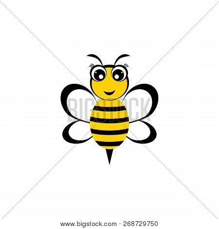 Cute Cartoon Bee. Bee Icon. Vector Illustration