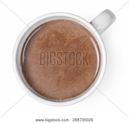Hot Chocolate Or Cocoa Drink In A Cup Or Mug. Top View Of Hot Chocolate, Isolated On White Backgroun