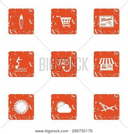 Sightseeing Tour Icons Set. Grunge Set Of 9 Sightseeing Tour Icons For Web Isolated On White Backgro