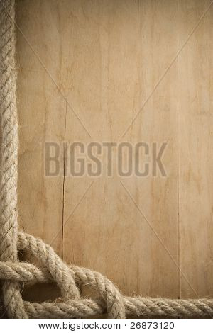 ship rope and old wood background texture