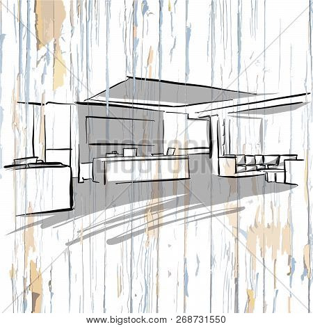 Interior Office Drawing On Wooden Background. Hand-drawn Vector Vintage Illustration.