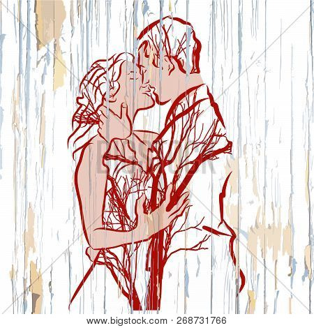Vintage Kissing Couple With Trees On Wood. Hand-drawn Vector Vintage Illustration.
