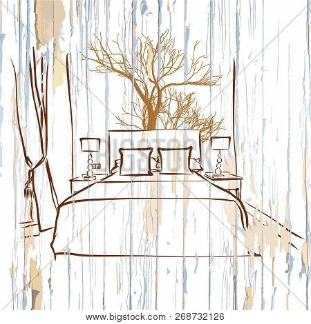 Hotel Room King Size Bed On Wood. Hand-drawn Vector Vintage Illustration.