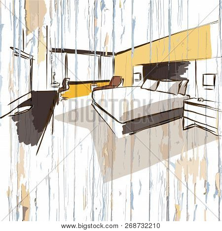 Hotel Room Drawing On Wooden Background. Hand-drawn Vector Vintage Illustration.