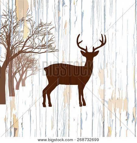 Vintage Deer On Wooden Background. Hand-drawn Vector Vintage Illustration.