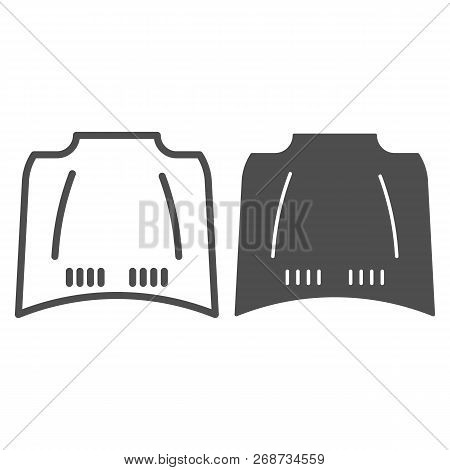 Car Hood Line And Glyph Icon. Car Bonnet Vector Illustration Isolated On White. Automobile Hood Outl