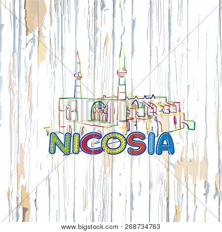 Colorful Nicosia Drawing On Wooden Background. Hand-drawn Vintage Vector Illustration.