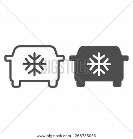 car air conditioning line and glyph icon  car conditioner vector  illustration isolated on white  automobile airflow outline style design,  designed for web