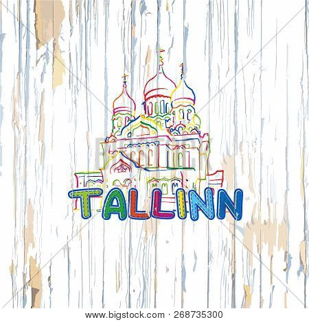 Colorful Tallinn Drawing On Wooden Background. Hand-drawn Vector Illustration.