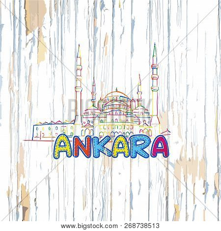 Colorful Ankara Drawing On Wooden Background. Hand-drawn Vector Illustration.