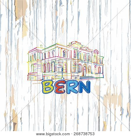 Colorful Bern Drawing On Wooden Background. Hand-drawn Vector Illustration.