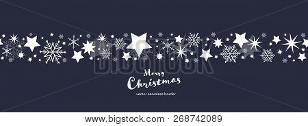 Christmas Time. Dark Blue And White Snowflake And Star Seamless Border. Text : Merry Christmas