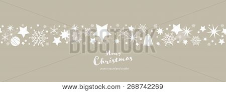Christmas Time. Bright Brown And White Snowflake And Star Seamless Border With Bell And Christmas Ba