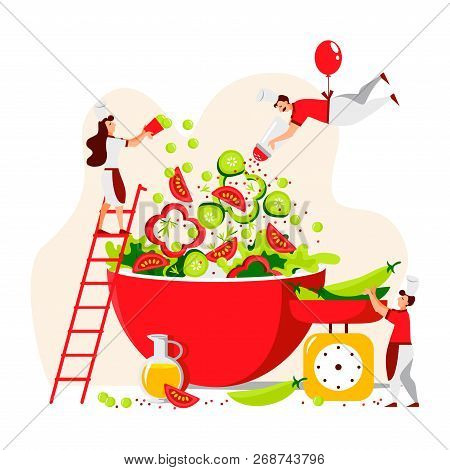 Vector Flat Design Of People Who Cook Green Salad For A Healthy Lifestyle. Mini Chefs Make A Vegetar