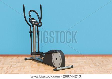 Elliptical trainer in room on the wooden floor, 3D rendering poster