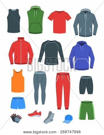 Men Casual Clothes For Fitness Training. Basic Garments For Gym Workout. Vector Flat Illustration. O