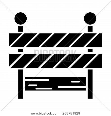 Roadblock Solid Icon. Barrier Vector Illustration Isolated On White. Boundary Glyph Style Design, De